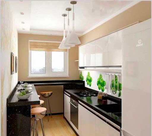 Как расширить узкую кухню
